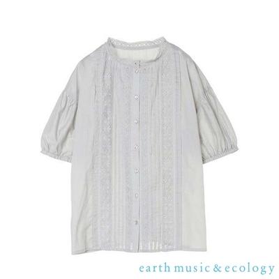 earth music  壓褶蕾絲泡泡袖純棉襯衫