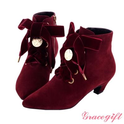 Grace gift-美少女戰士經典變身綁帶短靴 酒紅