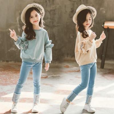 小衣衫童裝 中大童花邊蝴蝶結長袖上衣牛仔褲套裝1091101