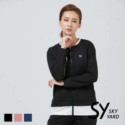 【SKY YARD 天空花園】假兩件拼色休閒外套-黑色