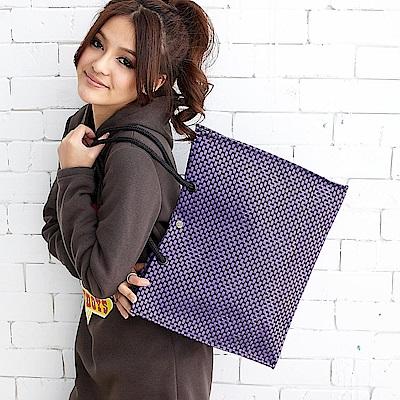 DF Queenin - 人氣休閒普普風編織購物袋-共<b>2</b>色