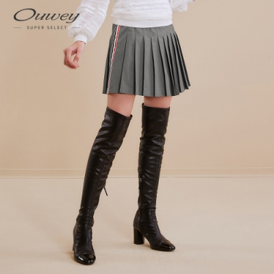 OUWEY歐薇 俏麗學院風百摺褲裙(灰)