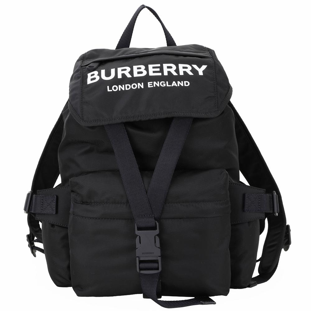 BURBERRY 小型 Logo徽標印花尼龍後背包(黑色)
