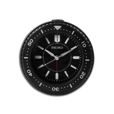 SEIKO 精工 / 潛水錶造型 貪睡鬧鈴 指針靜音鬧鐘 / 黑色 / QHE184K