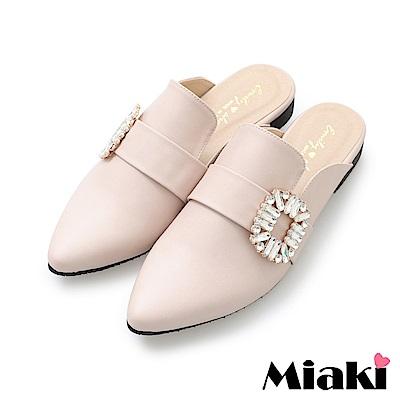 Miaki-穆勒鞋夏日韓風低跟休閒鞋-米