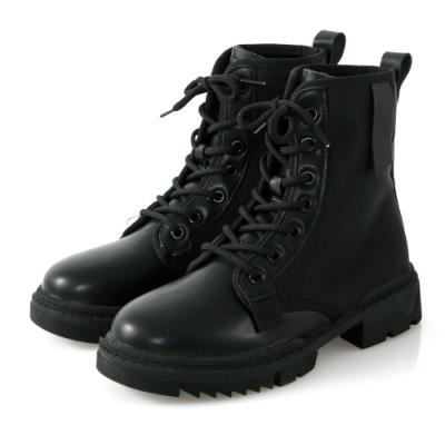 JMS-帥氣不羈異材質拼接綁帶短靴-黑色