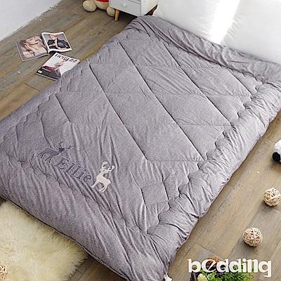 BEDDING-雙面同色水晶絨+毛巾繡花暖暖被-亮岩灰-麋鹿版