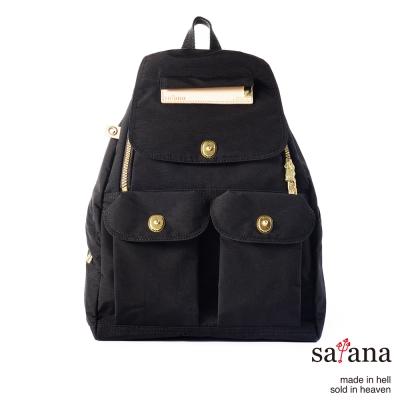 satana - 小拉鍊後背包 - 黑色