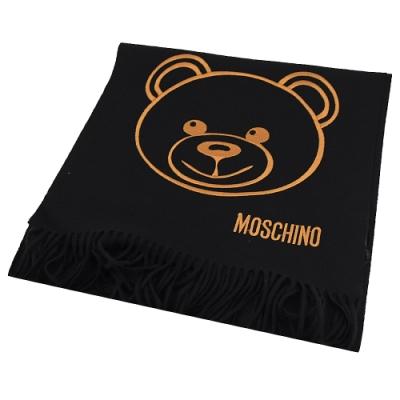 MOSCHINO電繡大臉熊熊羊毛長圍巾(黑)