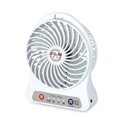 Dr.AV USB充插隨行強風扇白色(FAN-700W)