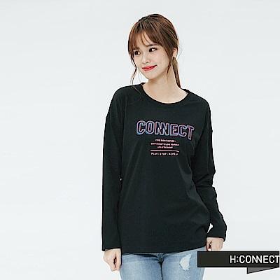 H:CONNECT 韓國品牌 女裝-清新logo印字長袖T-shirt-黑