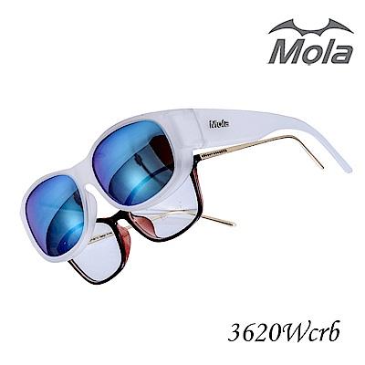 MOLA摩拉外掛式偏光太陽眼鏡 時尚 套鏡 彩色多層膜 男女一般臉型 近視可戴-3620W