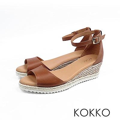 KOKKO - 裙擺搖搖草編全真皮超軟底涼鞋-拿鐵棕