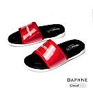 達芙妮DAPHNE 涼鞋-個性字母標語休閒平底拖鞋-紅色
