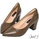 Ann'S加上優雅高跟版-復古皮革沙發後跟尖頭鞋-卡其 product thumbnail 1