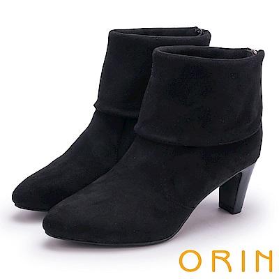 ORIN 經典儁永 復古反折麂皮布高跟短靴-棕色