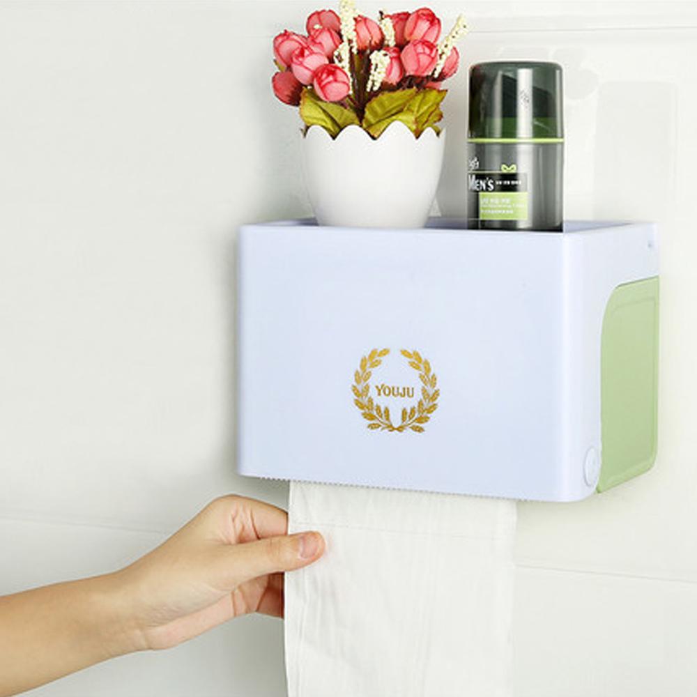 三合一無痕浴室防水紙巾置物盒(抽取/捲筒兩用)