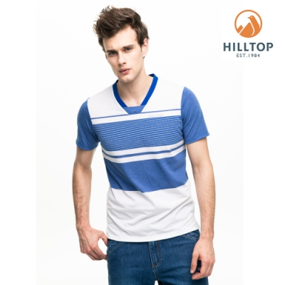 【hilltop山頂鳥】男款抗菌抗UV條紋T恤PS04XMC9ECEW海藍/明亮白