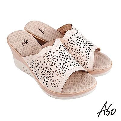 A.S.O 機能休閒 厚底美學沖孔設計楔型涼拖鞋-米