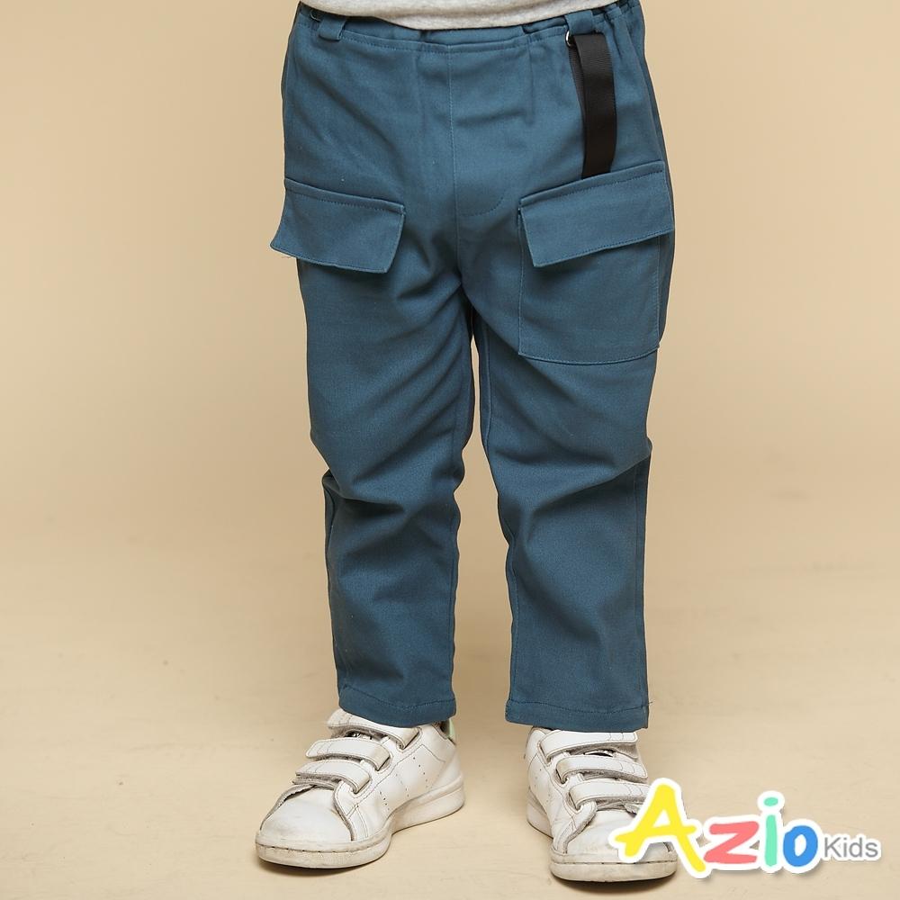 Azio Kids 男童 長褲 褲頭造型彈性鬆緊單口袋休閒長褲(藍)