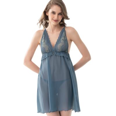 思薇爾 慕夏金迷系列連身蕾絲性感小夜衣(霧銀藍)