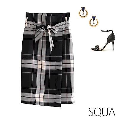 SQUA 格紋不對稱半身裙 (附綁帶)