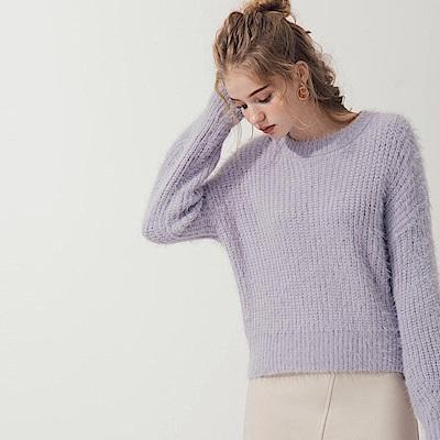 AIR SPACE 極簡百搭毛海針織上衣(紫)