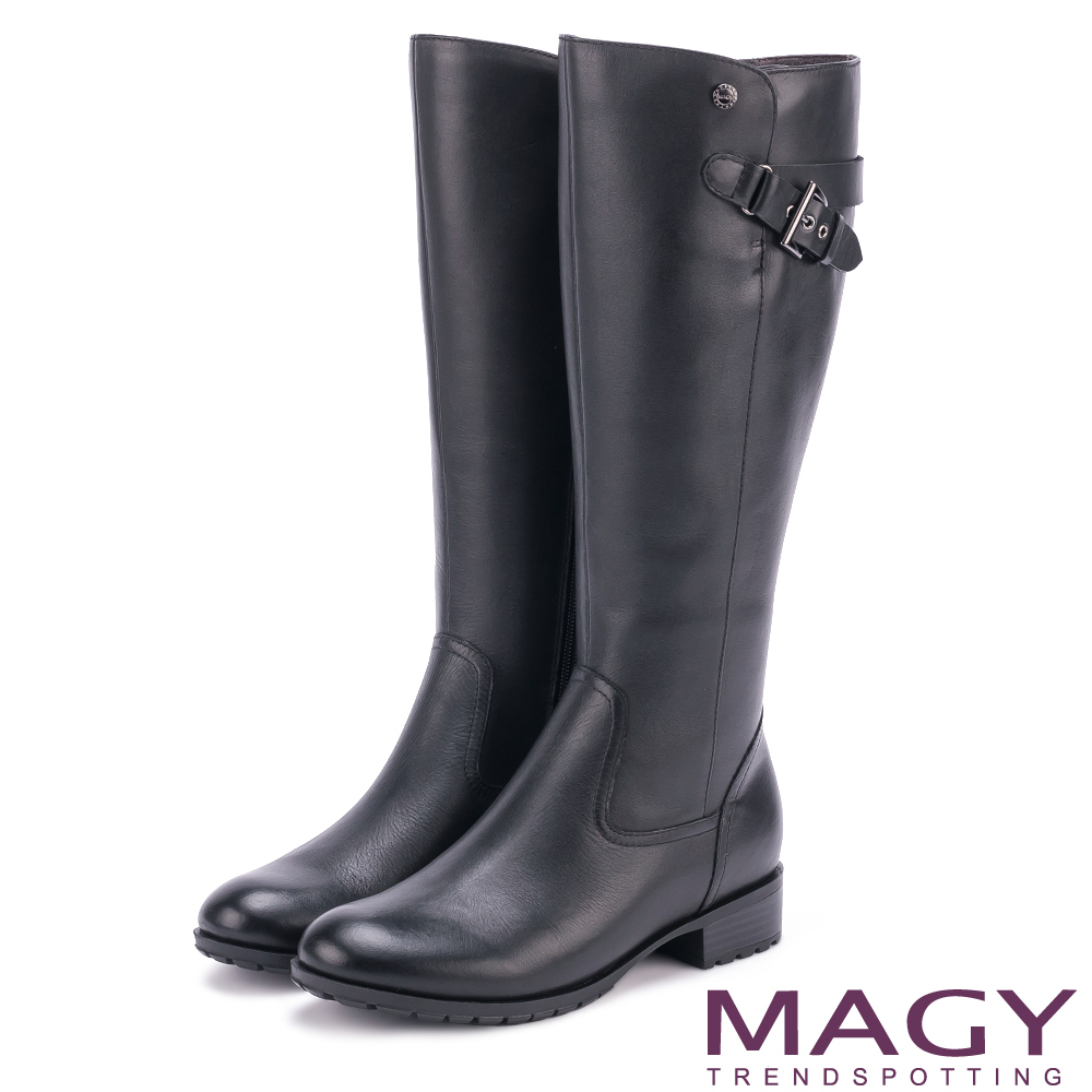 MAGY 經典騎士 牛皮造型銅釦拉鏈長靴-黑色
