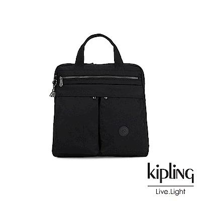 Kipling 極致低調黑前側雙拉鍊手提後背兩用包-KOMORI S