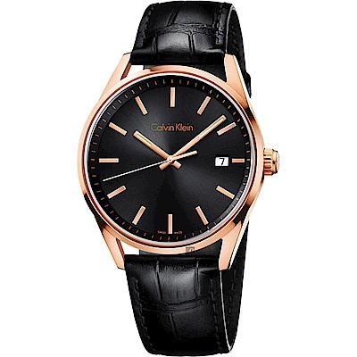 Calvin Klein CK Formality 風雅系列紳士手錶-黑x玫瑰金/43mm