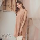 東京著衣-YOCO 浪漫柔美抽鬚造型無袖洋裝-S.M.L(共二色)