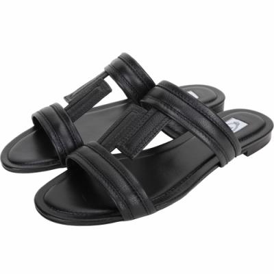 TOD'S DoubleT 荔枝紋牛皮涼鞋/拖鞋(黑色)