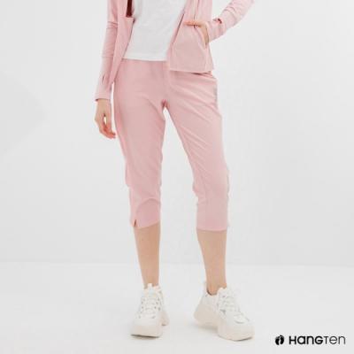 Hang Ten-女裝-恆溫多功能-REGULAR FIT標準四向彈力吸濕快乾抗曬七分運動長褲-粉色