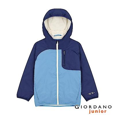 GIORDANO 童裝搖粒絨內裡連帽鋪棉外套-71 尼亞加拉河藍
