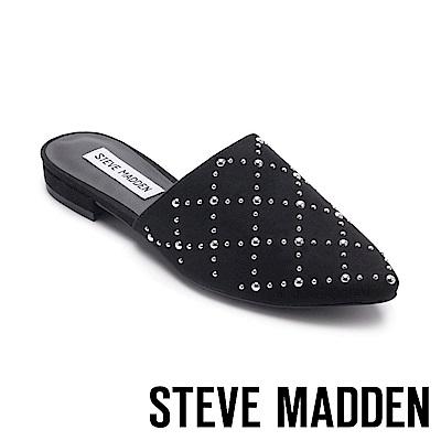 STEVE MADDEN-FAZED菱格紋珍珠鉚釘後跟拖-絨黑