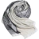 EMPORIO ARMANI 義大利製斜紋LOGO圖騰漸層薄造型圍巾(黑系)