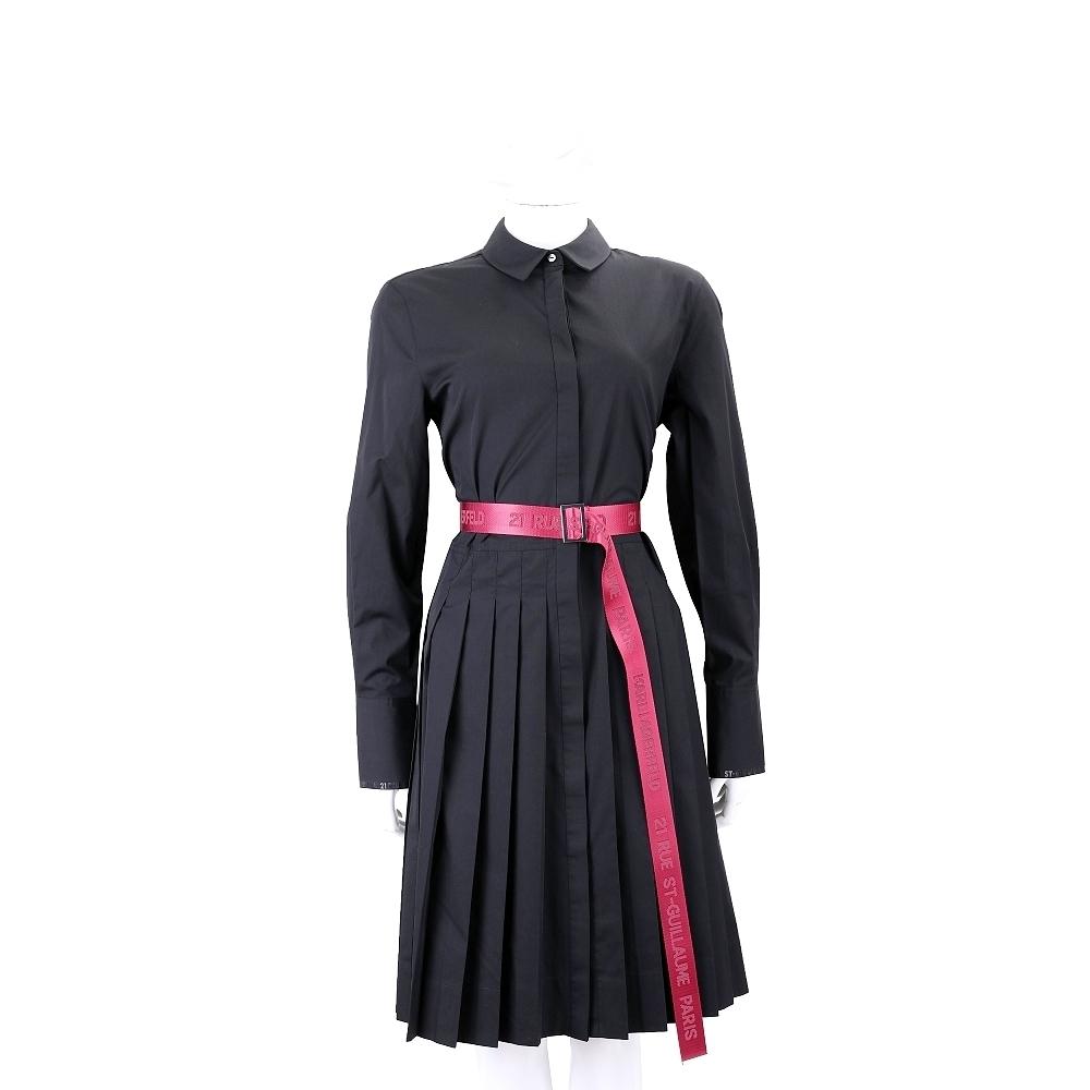 Karl Lagerfeld 反折袖黑色襯衫式壓摺洋裝(附撞色字母腰帶)