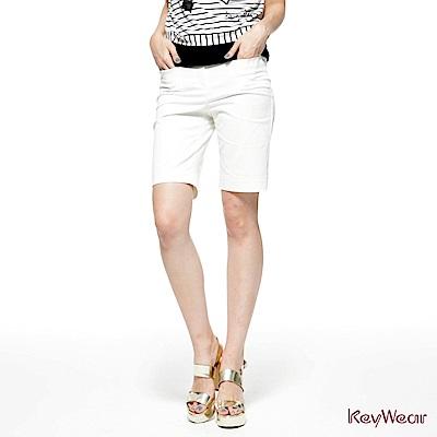 KeyWear奇威名品     都會知性五分褲-白色