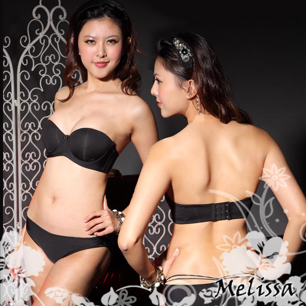 內衣 經典無肩帶內衣組*B-F罩杯 (黑)嫚黎紗