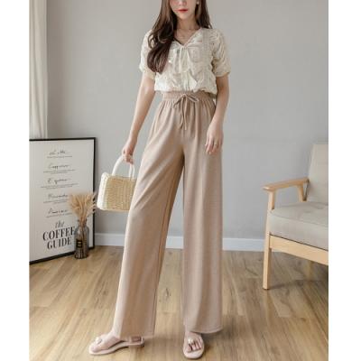 2F韓衣-簡約氣質收腰修身造型寬褲-3色-(S-XL)