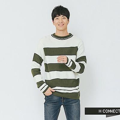 H:CONNECT 韓國品牌 男裝-寬條柔軟針織上衣-卡其