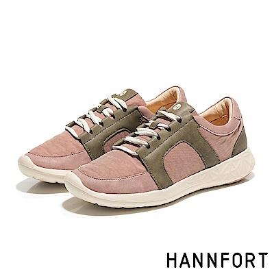 HANNFORT ICE撞色尼龍運動鞋-女-灰玫粉