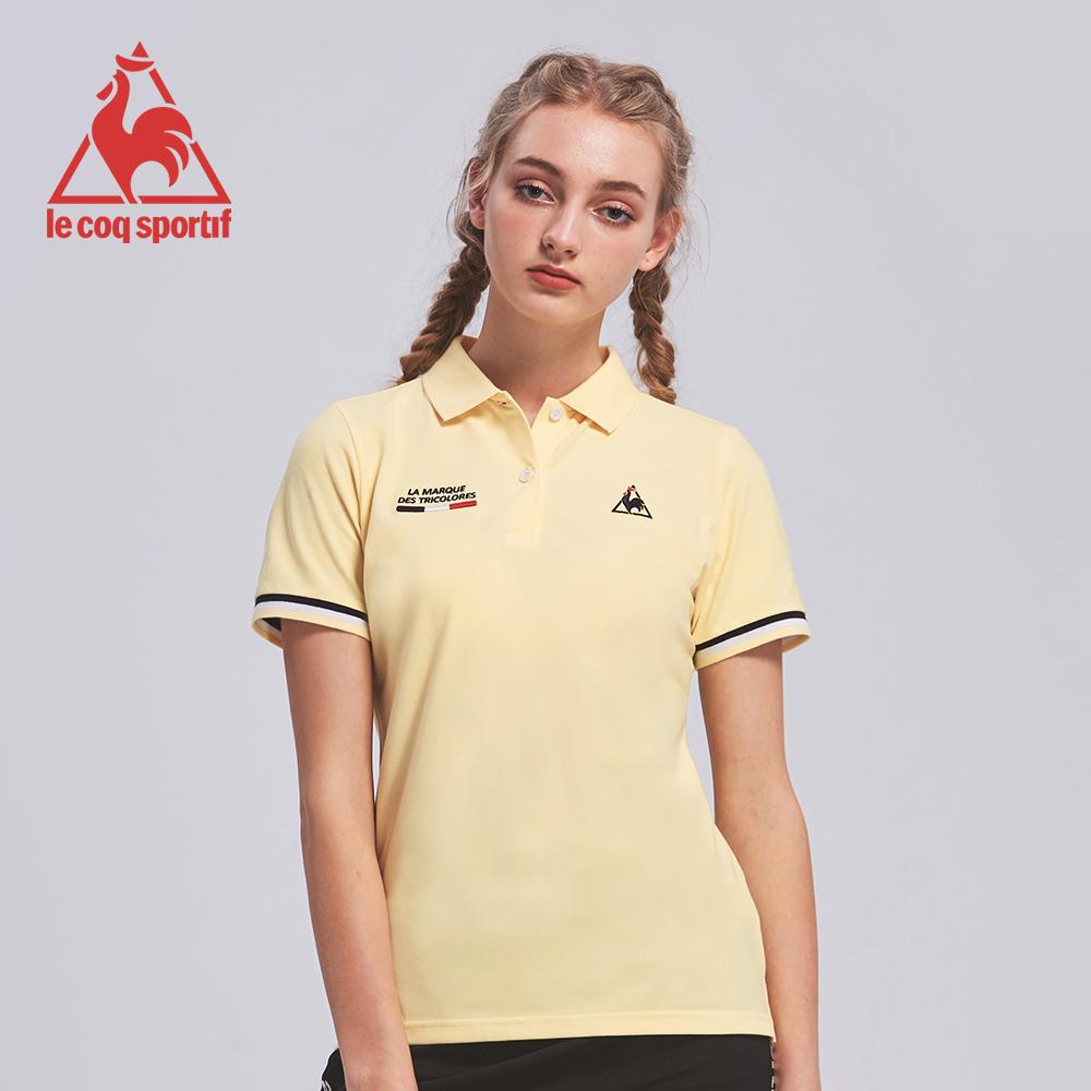 le coq sportif 法國公雞牌吸濕排汗多色經典短袖POLO衫 女-淡黃