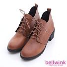 bellwink-日系抽綁繩皮革低跟靴-綜-b1016ce