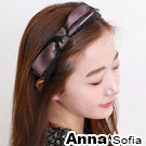 AnnaSofia 黑紗緞帶層結 韓式髮箍(粉緞帶系)