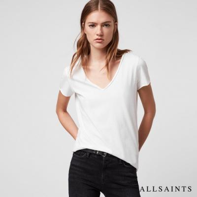 ALLSAINTS  EMELYN TONIC 日常舒適素色V領純棉短袖T恤-白