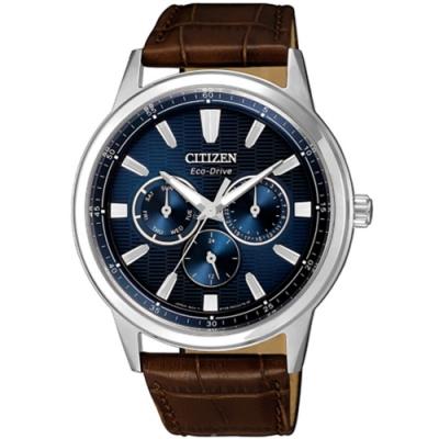 CITIZEN 星辰GENTS三眼藍色光動能手錶44mm(BU2071-10L)