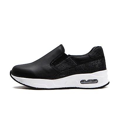 【AIRKOREA韓國空運】雙鞋面材質拼接氣墊休閒懶人便鞋-黑