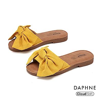 達芙妮DAPHNE 涼鞋-大方甜美蝴蝶結飾平底拖鞋-黃色