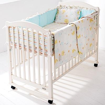 【限時滿額送玩樂劵】 奇哥 白色大床+快樂森林六層紗寢具組-L